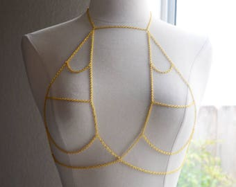 Gold Halter Bralette Body Chain Harness