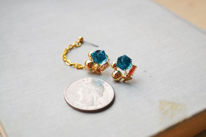 Blue Geometric Double Lobe Pierce Earrings Pair