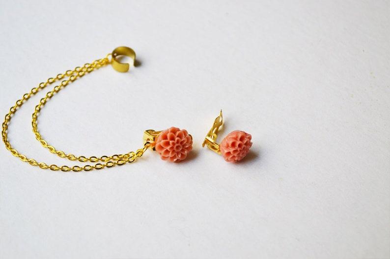 Dark Blush Chrysanthemum Gold Clip On Ear Cuff Earrings Pair