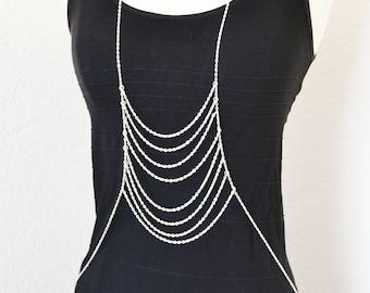 Silver Body Chain Harness Boho Summer Body Jewelry