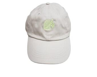 Animal Crossing Leaf Embroidered Hat | Video Game Dad Hat Khaki | New Horizons Baseball Cap | Baseball Hat Beige