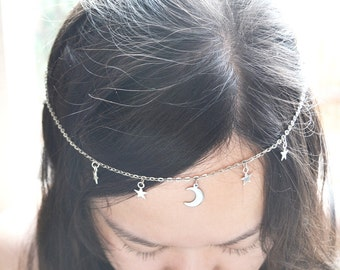 Silver Crescent Moon and Stars Head Chain