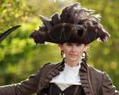 Steampunk brown & Brass Pirate hat