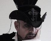 black leather raven pirate tricorn hat