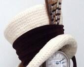 Cream & brown Victorian Steampunk mad hatter hat