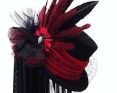Gothic Victorian Raven black & red wedding hat