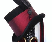 Victorian Gothic raven top hat black and red burgundy