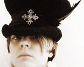 Victorian Gothic steampunk black mad hatter hat