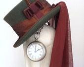Green Victorian steampunk riding hat