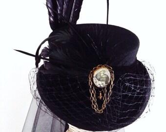 Gothic raven black dressage riding hat