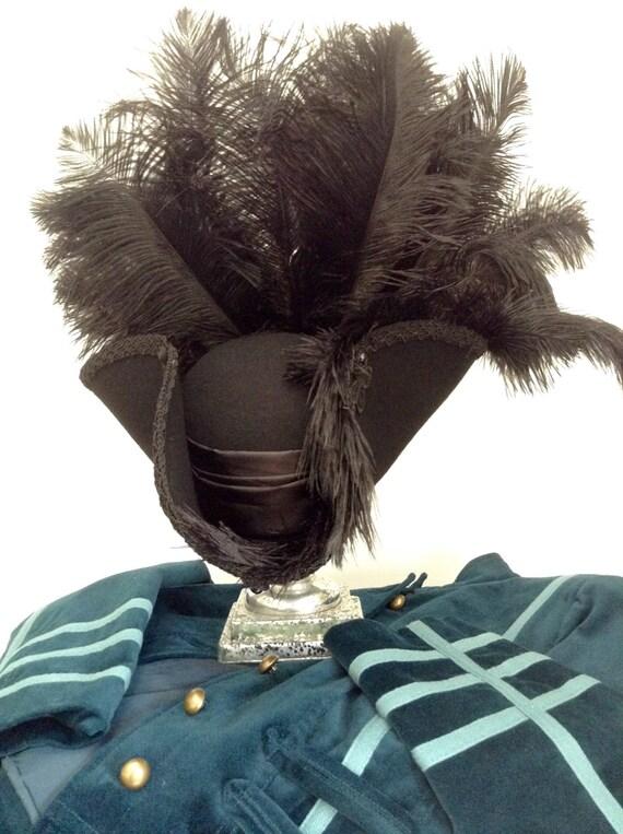 535af2c27e1 Gothic Steampunk black rococo high sided pirate Tricorn hat