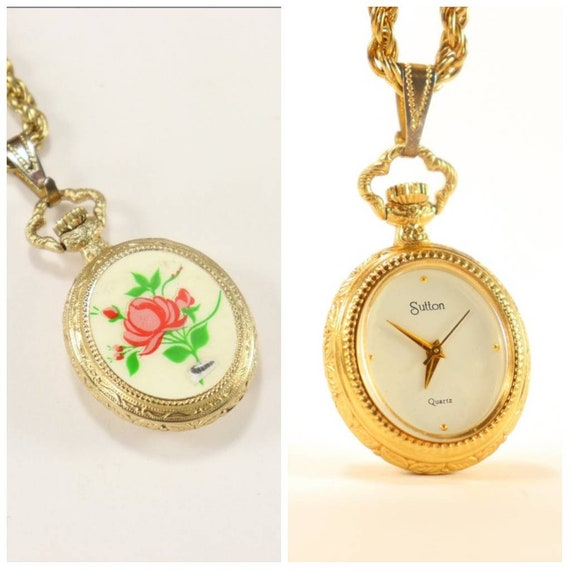 Sutton Ladies Gold Plated Necklace Watch with Enam