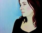 Rachel Portrait A4 PRINT on Canvas Paper Beautiful serene calm duck egg blue lady Woman