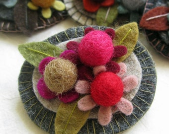 Handmade Felt Flower Bunch Brooch