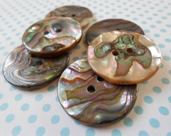 Natural Mother of Pearl Buttons 6 pcs Thin
