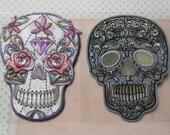 Sugar Skull Iron-on Embroidered Patch Dias de los Muertos Skeleton Applique