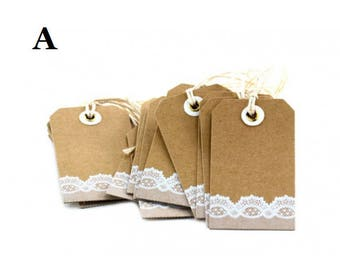 Tags Lace Decorated Cardboard pcs 12 with Cord