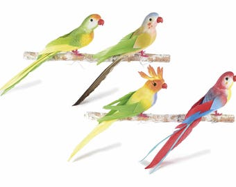 Artificial Parrots with Real Feather Tail Set of 8 Assorted