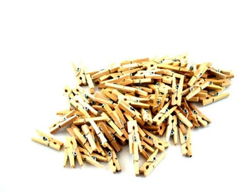 Mini Clothespins Natural Wood 50 pcs