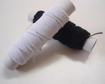 Elastic Thread White and Black Set of 4