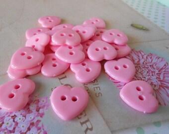 Heart Buttons Pink 12pcs.