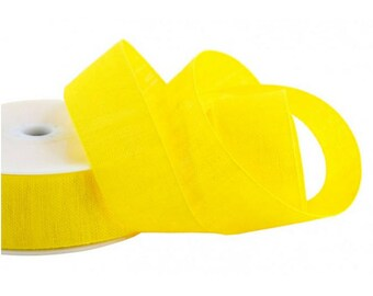 "Ribbon Linen Tape Yellow 1"" width 10 yds"