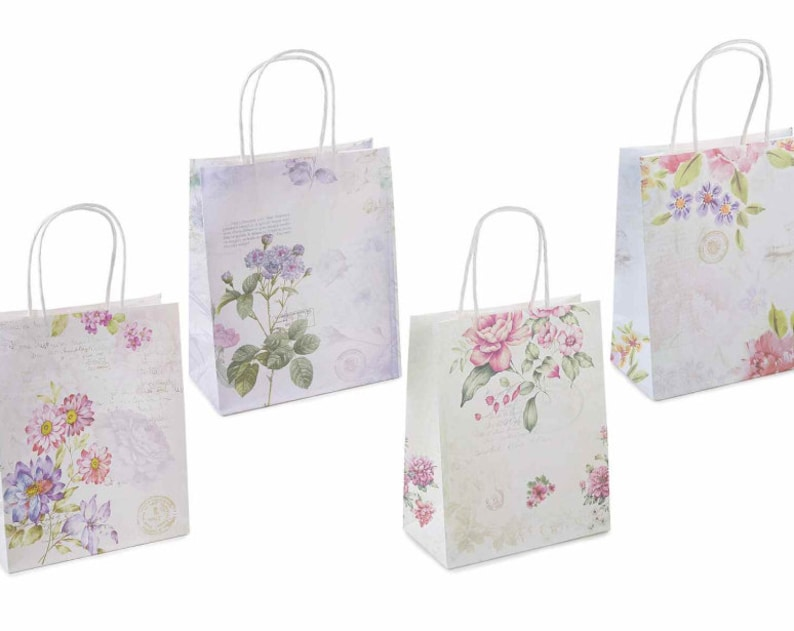 Paper Bags 16 pcs Party Favours Gift Bags with Handles Flowers Shabby Chic  Romantic Bags
