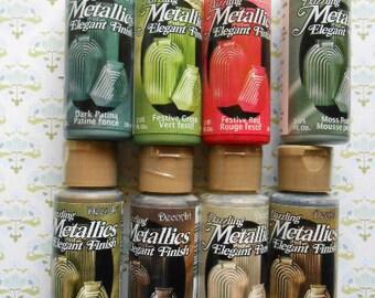 SALE 6 Bottles Acrylic Paint Dazzling Metallic Elegant Finish