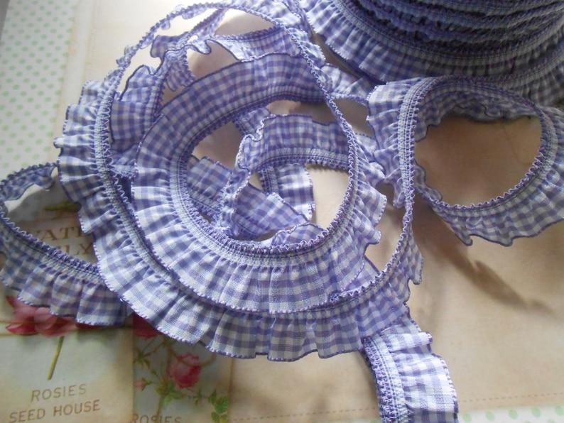 Flounced Gingham Frill Trim Lilac 34 width 5 yds
