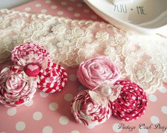 Valentine's Day Brooch, Valentine's Day Accessories, Valentine's Day Pin, Heart Brooch, Heart Pin, Flower Brooch,Fabric Flower Brooch,Hearts