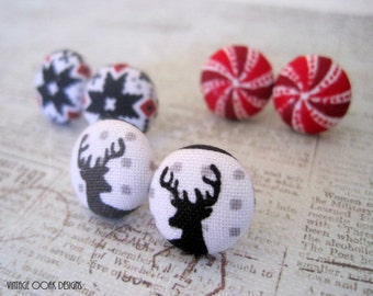 Christmas Earrings, Deer Christmas Earrings, Nordic Earrings Studs,Nordic Christmas Studs, Peppermint Earrings,Deer Stag Studs, Winter Studs