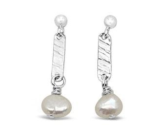 Freshwater Pearl Sterling Silver Short Dangle Earrings