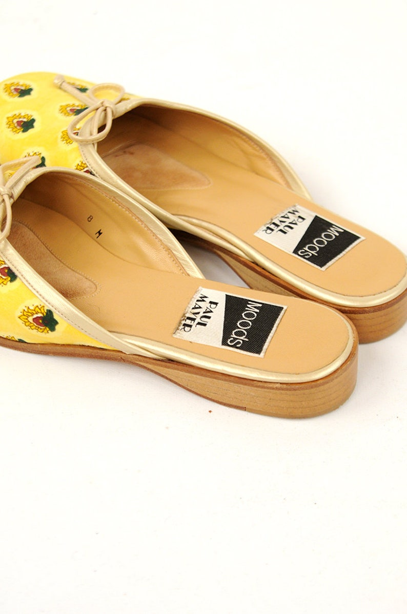 Vintage 1980/'s Bright Yellow Novelty Print Leather Slip On Summer Mule Shoes 8