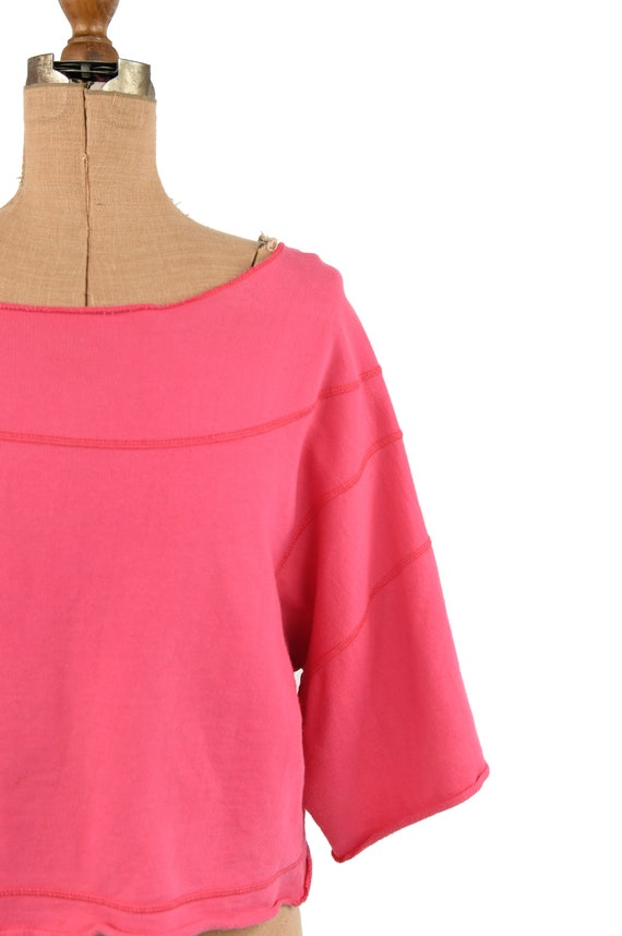Vintage 80s Hot Pink All Cotton Wide Sleeve Overs… - image 2