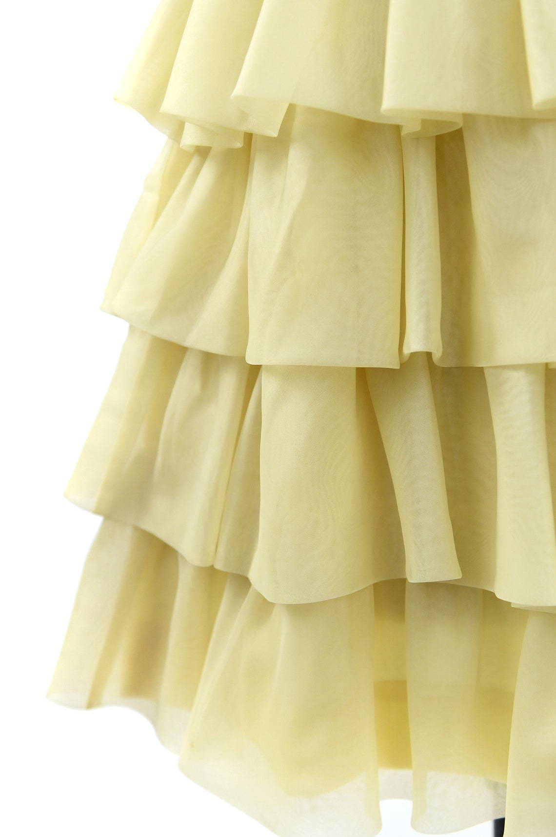 Vintage 60s Bright Yellow Sheer Nylon Chiffon Tiered Skirt Mod