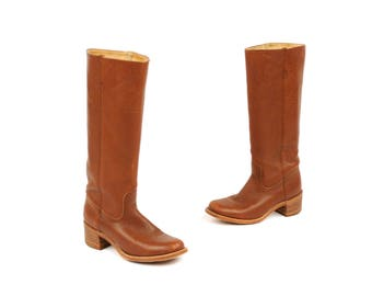 Vintage 1970's FRYE Tall Boho Leather Campus Stacked Wooden Heel Knee High Boots 10