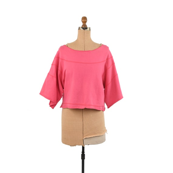 Vintage 80s Hot Pink All Cotton Wide Sleeve Overs… - image 1