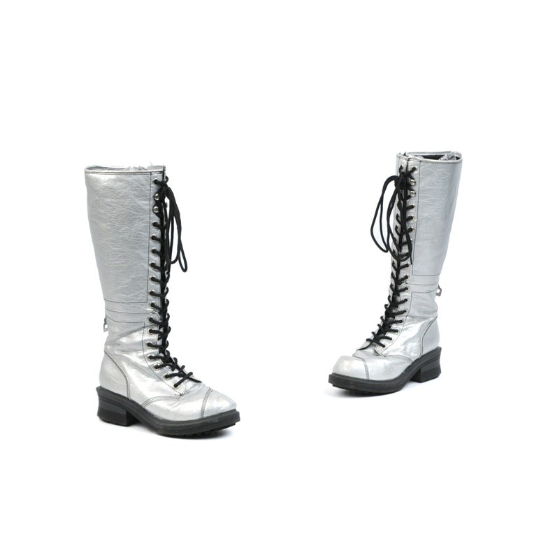 7f3fa9108d8f Vintage 90s Metallic Silver Tall Knee High Lace Up Grunge