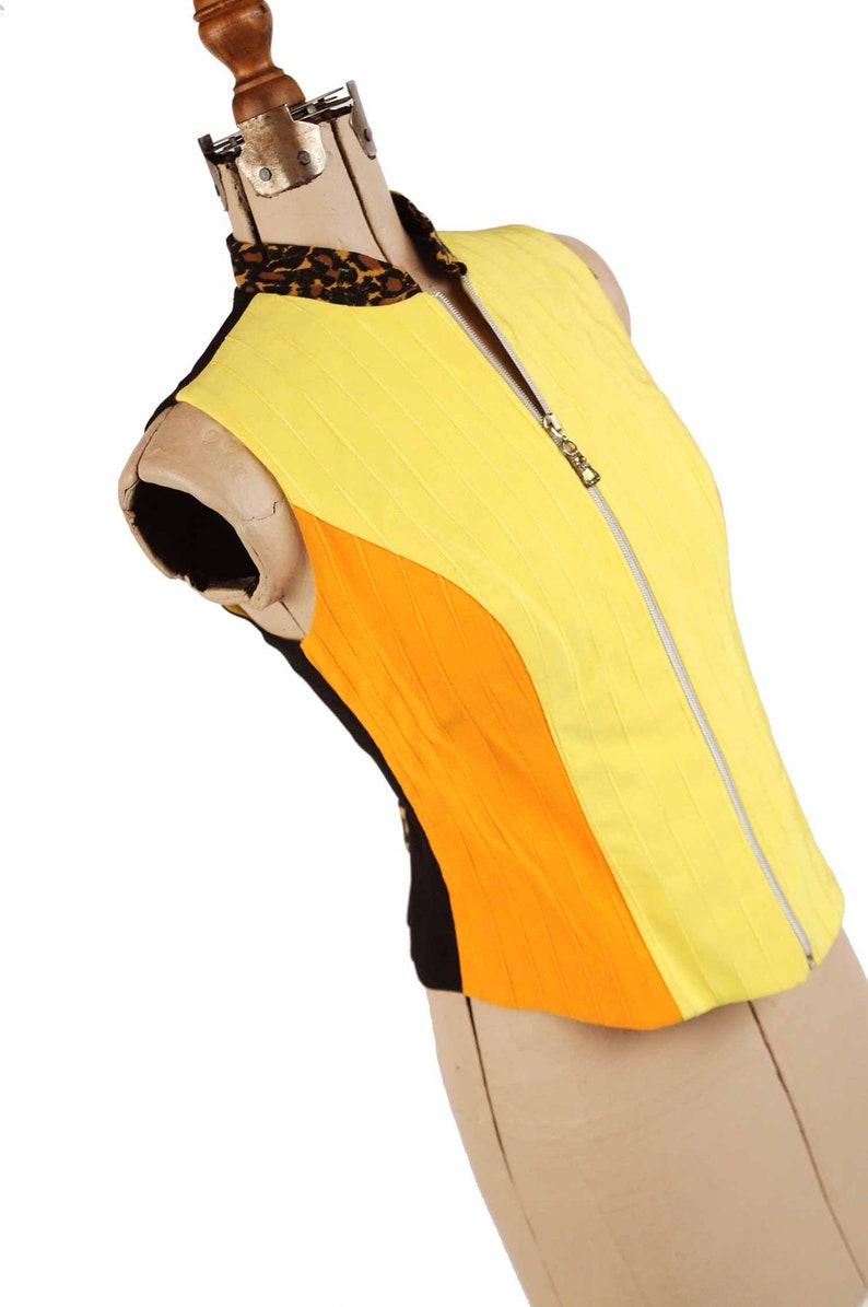 Orange Mod Moto Vest Shirt Blouse Top M Vintage 80s Alberto Makali Cache Neon Yellow