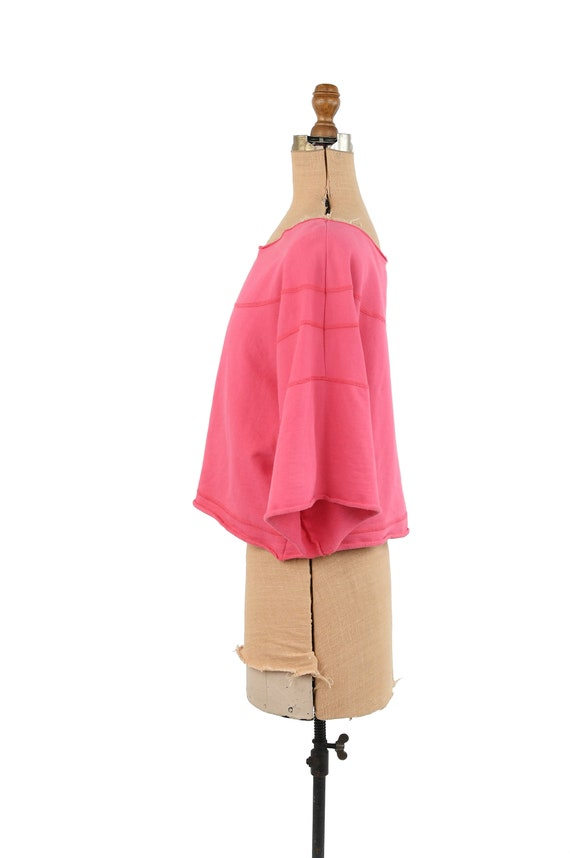 Vintage 80s Hot Pink All Cotton Wide Sleeve Overs… - image 4