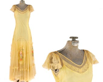 Vintage 1930's Yellow + Creem Sheer Mesh Drop Waist Floral Yarn Embroidered Garden Party Dress XS