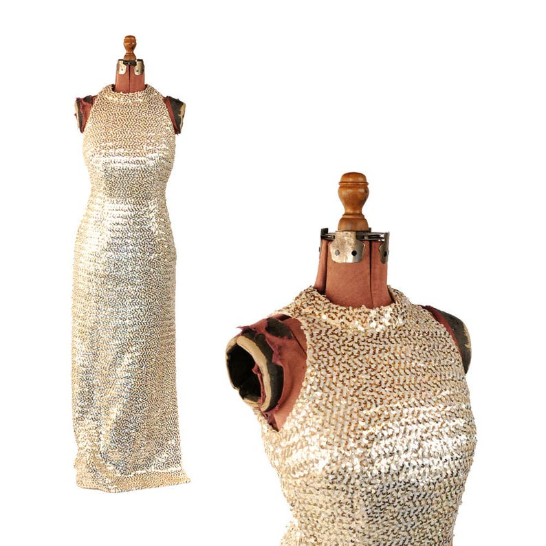 f059751da2a Vintage 1960 s Iridescent Gold Metallic Sequin Bombshell