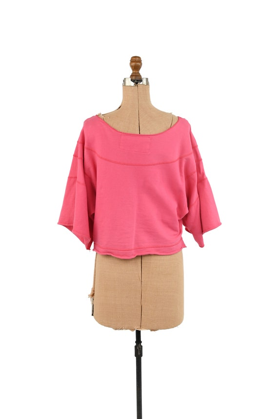 Vintage 80s Hot Pink All Cotton Wide Sleeve Overs… - image 5