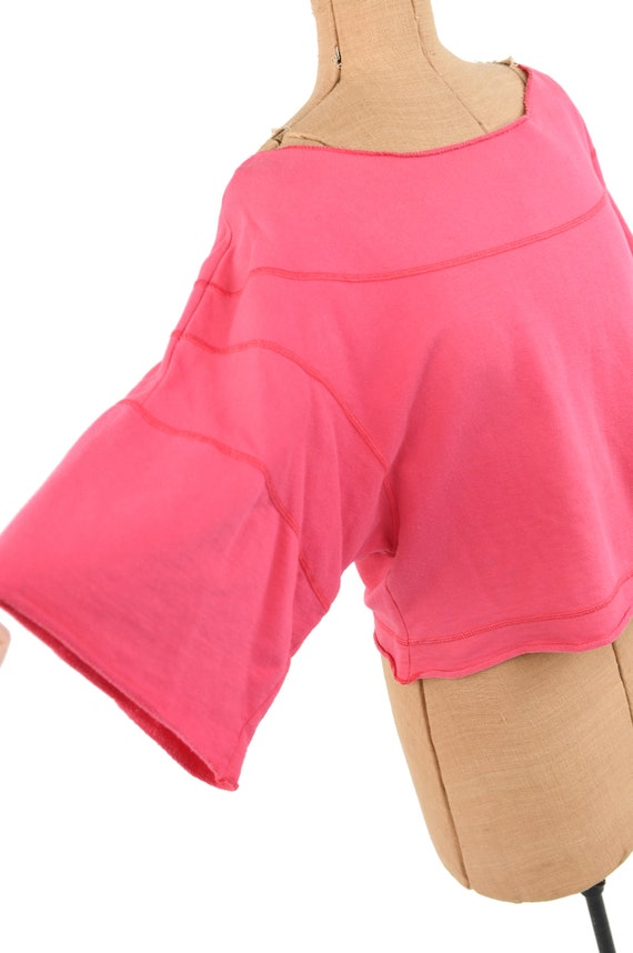 Vintage 80s Hot Pink All Cotton Wide Sleeve Overs… - image 3