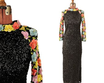 RESERVED for: Jillian Vintage 1960's Imperial Black Sequin + Beaded Floral Sleeves Wool Knit Evening Cocktail Party Dress S