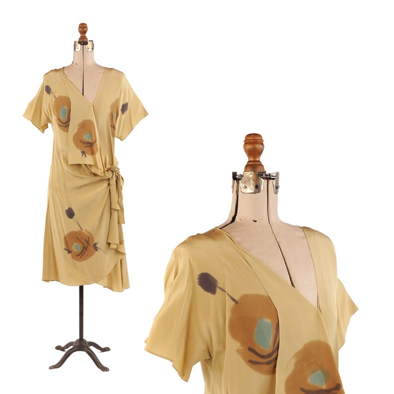 dd7a1f592eab2e Vintage 80s Lucille Chayt 100% Silk Tan Abstract Floral Wrap   Etsy