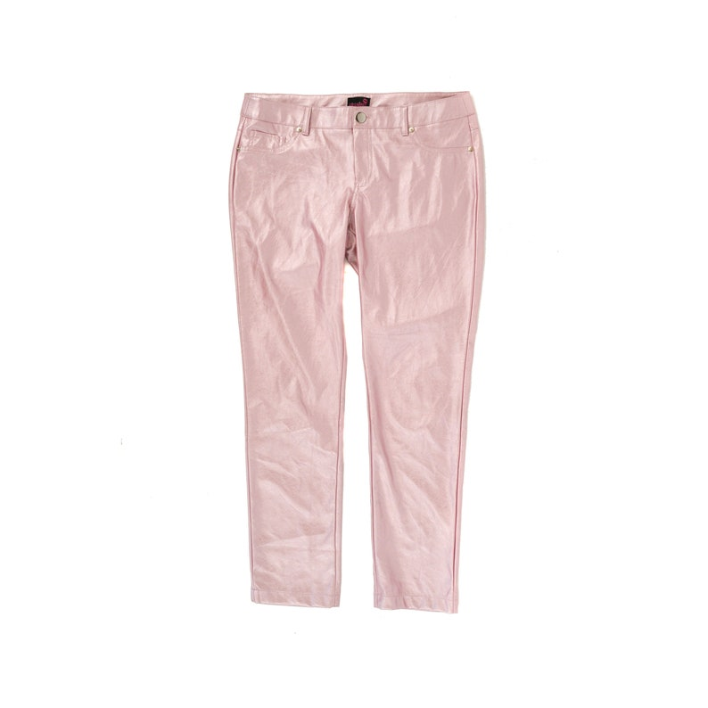 professional best collection classic Vintage 90s Pastel Pearl Pink Pleather Pants Ankle Crop Shiny Faux Leather  Cyber Trousers S M 9