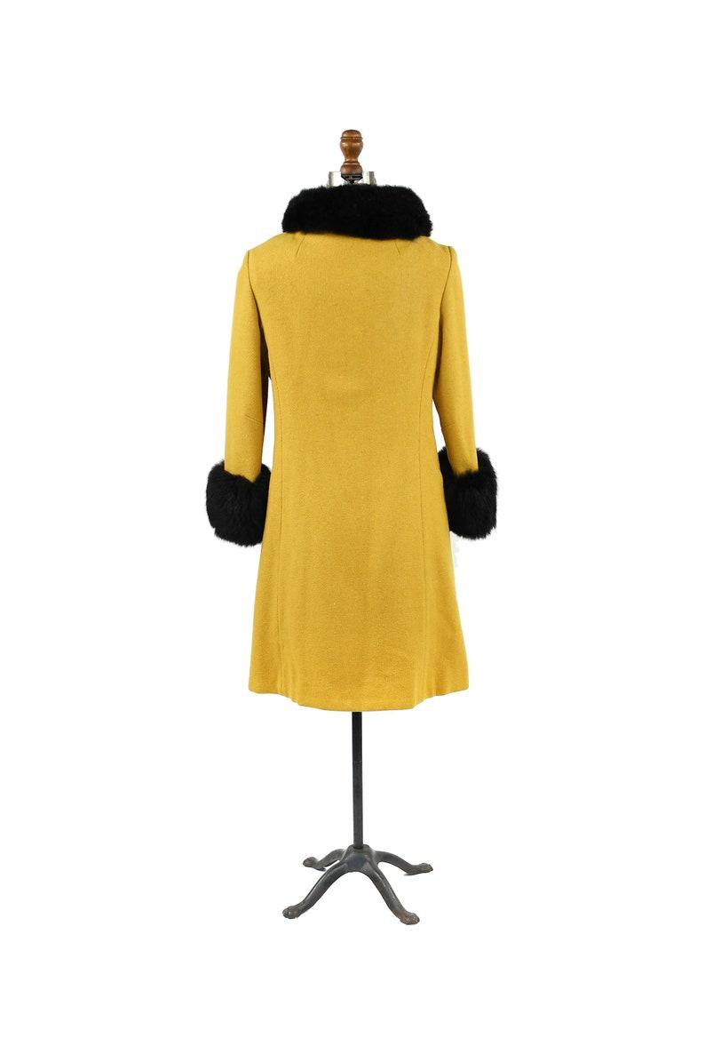 Vintage 60s Yellow Golden Wool Black Fox Fur Trim Mod Princess Asymmetrical Coat Jacket M
