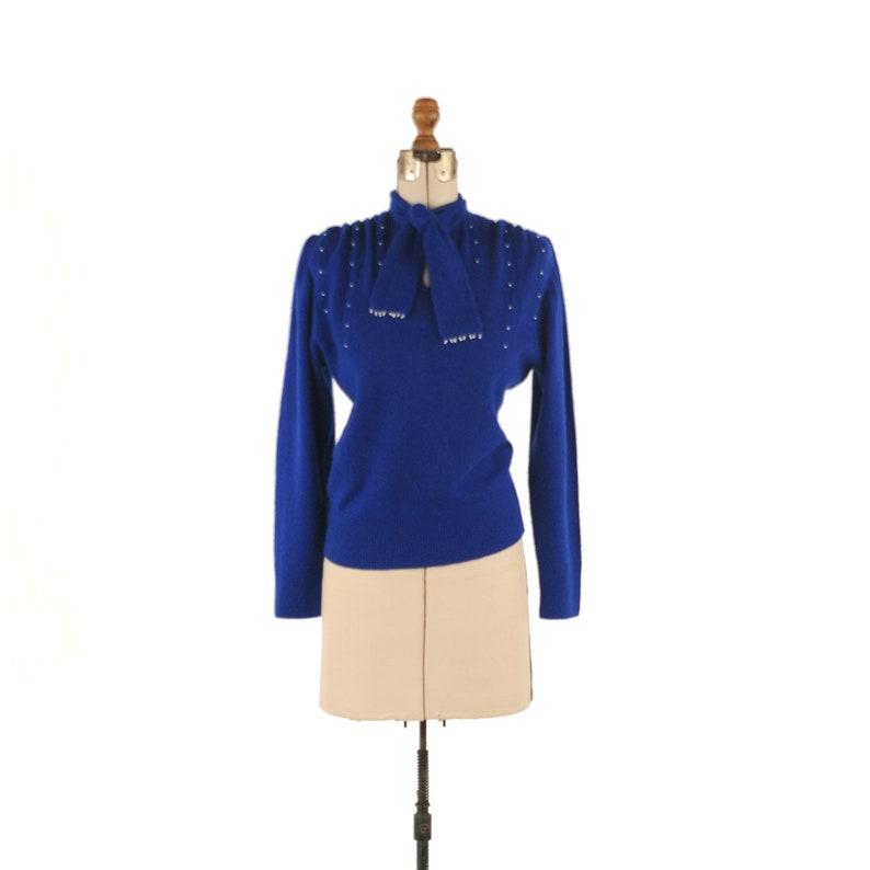 dff6ceef59 Vintage 80s Luisa Spagnoli Sweater Royal Blue Wool Knit Beaded | Etsy
