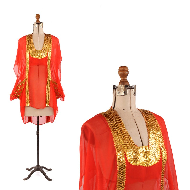 3ef8bd0769 Vintage 70s Sheer Red Chiffon Gold Sequin Grecian 20s Flapper Art Deco  Tunic Dress M